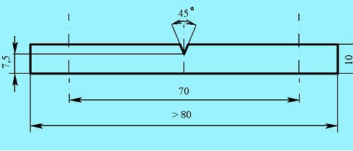 Вид образцов для испытаний на ударную вязкость