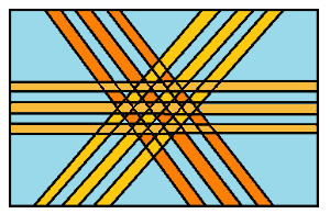 Рисунок 2: Схема ориентации волокон в слоистых КМ со звездной укладкой волокон в смежных слоях