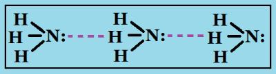 Водородные связи между молекулами аммиака