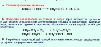 Винилхлорид – сырье для получения поливинилхлорида