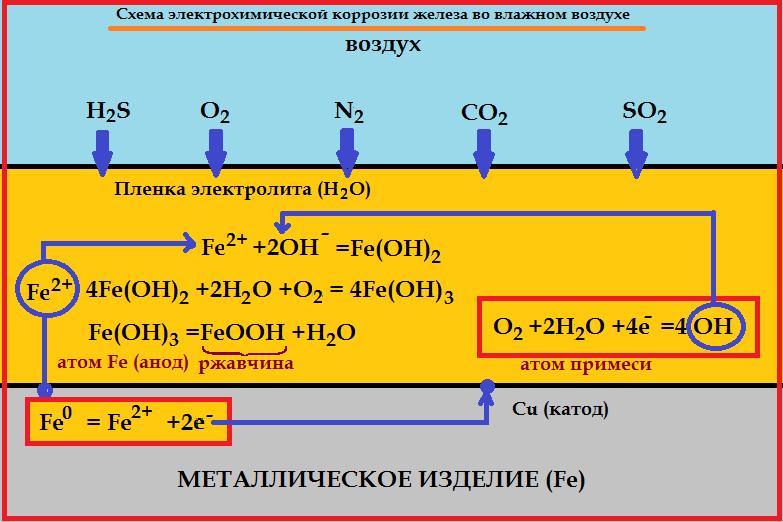 Схема электрохимической коррозии железа во влажном воздухе