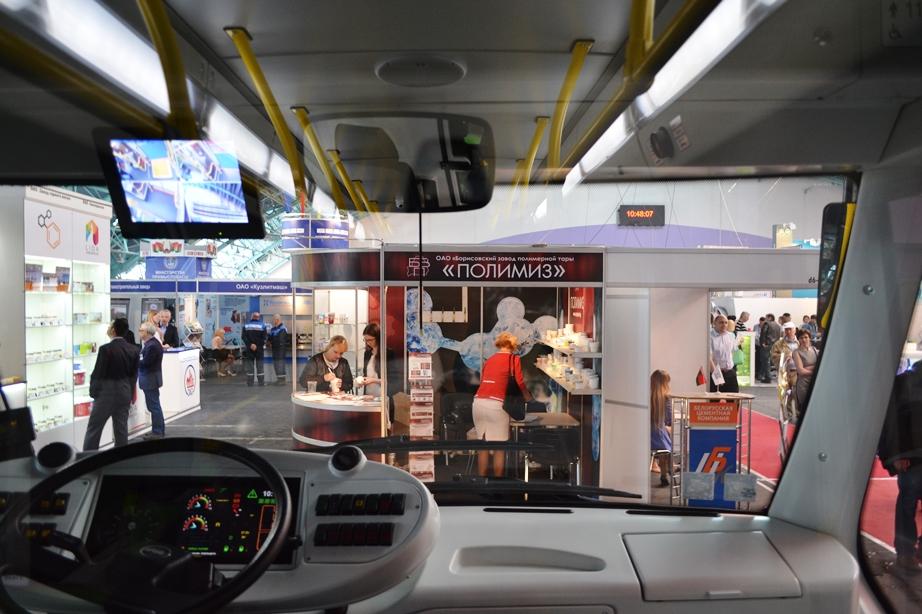 В кабине электробуса на Белорусском промышленном форуме 2017, ТехИнноПром и ПЛАСТЕХ