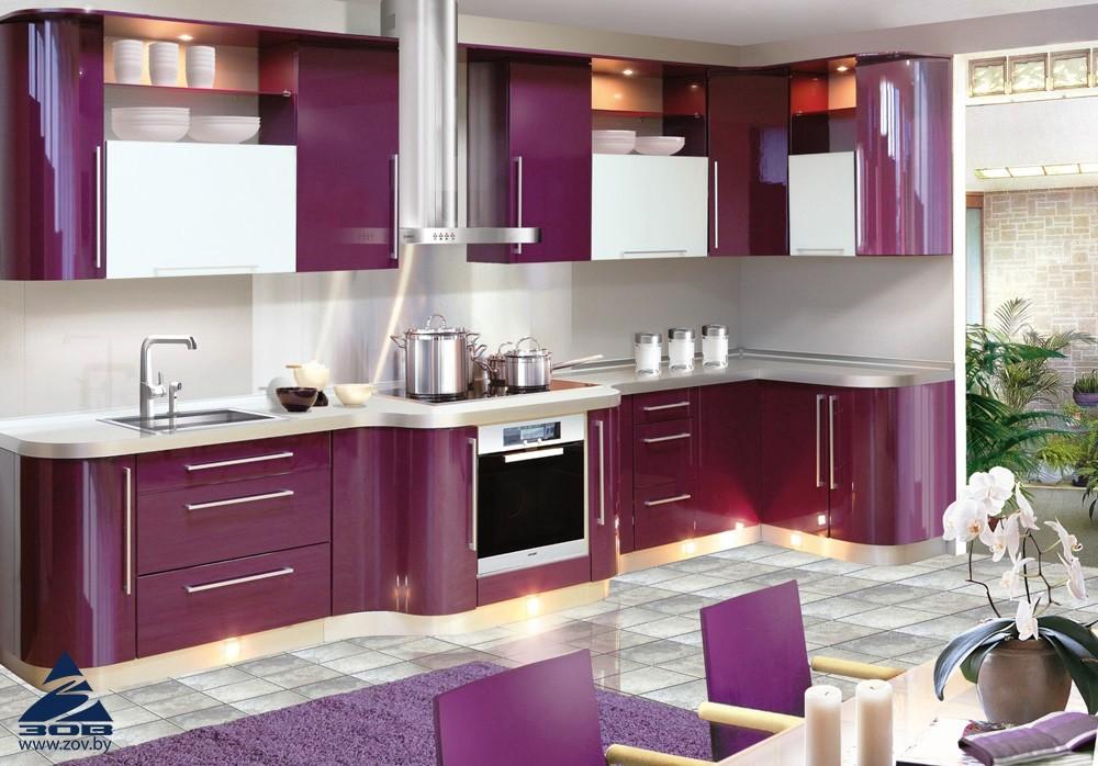 обзор популярных кухонь зов - кухонный гарнитур МДФ крашенный в вишневый цвет